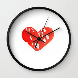 Colorful Hearts Watercolor on Paper Wall Clock