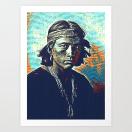 Native American Indian Portrait Profile Series - Navajo youth  Poster Art Print