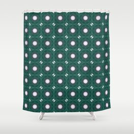 Green and White Roses Shower Curtain