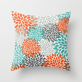Floral Pattern, Abstract, Orange, Teal and Gray Throw Pillow