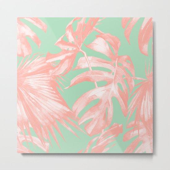 Island Love Seashell Pink + Mint Green Metal Print