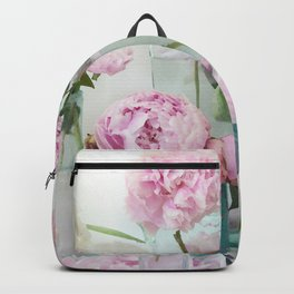Peonies Cottage Aqua Pink Shabby Chic Watercolor Peony Prints Home Decor Backpack