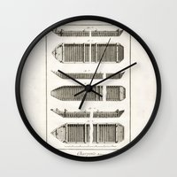 boats Wall Clocks featuring Boats by Le petit Archiviste
