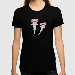 Cartoon gray Smooth hammerhead Winghead shark Kawaii T-shirt