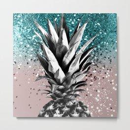 Pineapple Tropical Summer Vibes Glitter Glam #1 #tropical #fruit #decor #art #society6 Metal Print