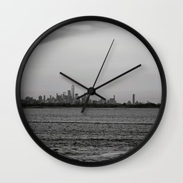 Across the Sea, black and white #1 Wall Clock