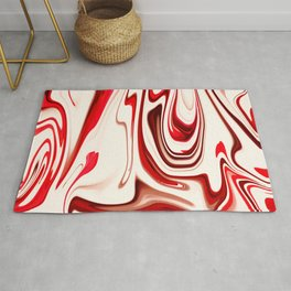 White and Red Liquid Marble Swirling Pattern Texture Artwork #7 Rug