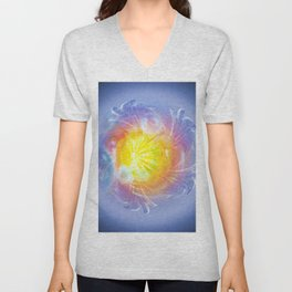 Abstract in blue 4 Unisex V-Neck