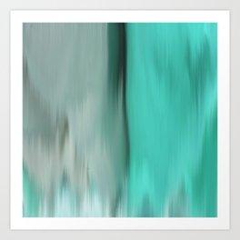 Modern abstract gray mint green teal brushstrokes ikat Art Print