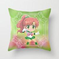 sailor jupiter Throw Pillows featuring Sailor Jupiter by Neo Crystal Tokyo