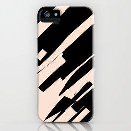 black & pale peach /geometric series iPhone Case