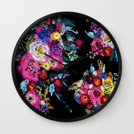 Colorful Floral Painting on Black Canvas. Wall Clock
