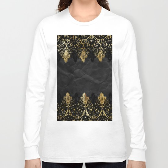 Simply elegance - Gold and black ornamental lace on black paper Long Sleeve T-shirt