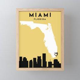 MIAMI FLORIDA LOVE CITY SILHOUETTE SKYLINE ART Framed Mini Art Print