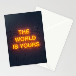 The World Is Yours Neon Stationery Cards