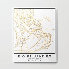 RIO DE JANEIRO BRAZIL CITY STREET MAP ART Metal Print