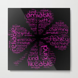 Ashley name gift with lucky charm cloverleaf words Metal Print
