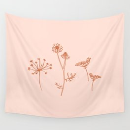 Wildflower Line Art Wall Tapestry