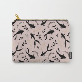 Pastel pink black gold watercolor koi fish leaves pattern Carry-All Pouch