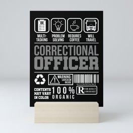 Correctional Officer Warning Thin Silver Line Mini Art Print