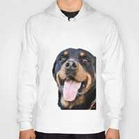 rottweiler Hoodies featuring Happy rottweiler by StarsColdNight