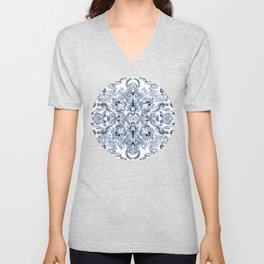 Indigo, Navy Blue and White Calligraphy Doodle Pattern Unisex V-Neck