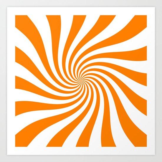Swirl (Orange/White) Art Print