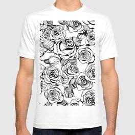 Hand drawn roses pattern T-shirt