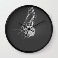 jelly fish Wall Clocks featuring Jelly Fish by Terri Ellis