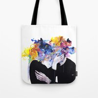 oil Tote Bags featuring intimacy on display by agnes-cecile