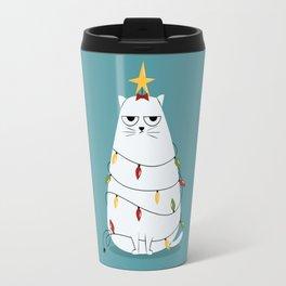 Grumpy Christmas Cat Travel Mug