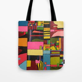 Colors in Collision 2 - Geometric Abstract in Blue Yellow Pink and Green Tote Bag