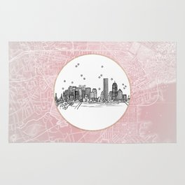 Boston, Massachusetts City Skyline Illustration Drawing Rug