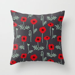 Red poppy flower pattern Throw Pillow