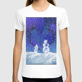 The Heart of Snowmen on a Winter Snowfall Day by annmariescreations T-shirt