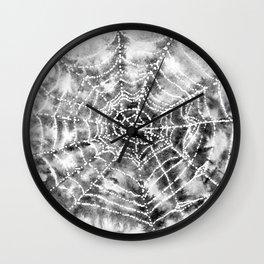 Watercolor Spider Web Halloween Art Wall Clock