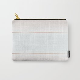 Pale Blue Tan Rose Gold Stripes Carry-All Pouch