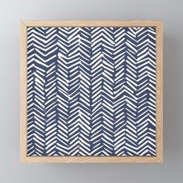 Boho Herringbone Pattern, Navy Blue and White Framed Mini Art Print
