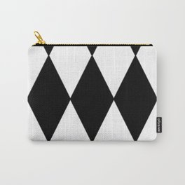 LARGE BLACK AND WHITE HARLEQUIN DIAMOND PATTERN Carry-All Pouch