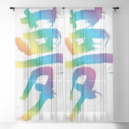 Calligraphy_DreamRainbow01 Sheer Curtain
