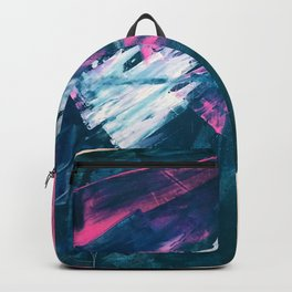Wild [3]: a bold, vibrant abstract minimal piece in teal and neon pink Backpack