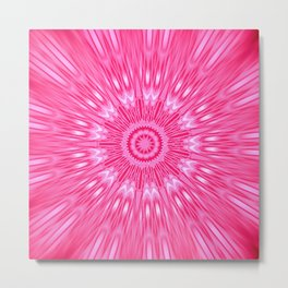 Pink Mandala Explosion Metal Print