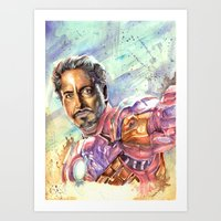 tony stark Art Prints featuring Tony Stark by Trenita