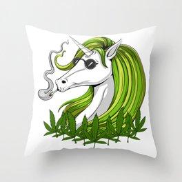 Hippie Unicorn Weed Smoking Marijuana Throw Pillow