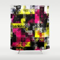 contemporary Shower Curtains featuring Contemporary Geometric by Idle Amusement