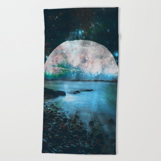 Mystic Lake Blue Green Beach Towel