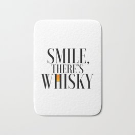 Happy Poster Whiskey Bar Decor Whiskey Poster Whiskey Art Whiskey Cocktail Smile there's Whiskey Bath Mat