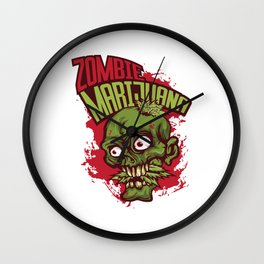 A Unique Detailed Zombie Tee For Yourself? Here's An Awesome T-shirt Saying Zombie Marijuana Design Wall Clock