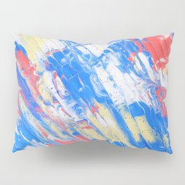 Fluid Acrylic Painting Multi Color Glitch Wave Effect Red Blue Yellow Pillow Sham