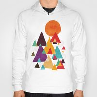 mountains Hoodies featuring Let's visit the mountains by Picomodi
